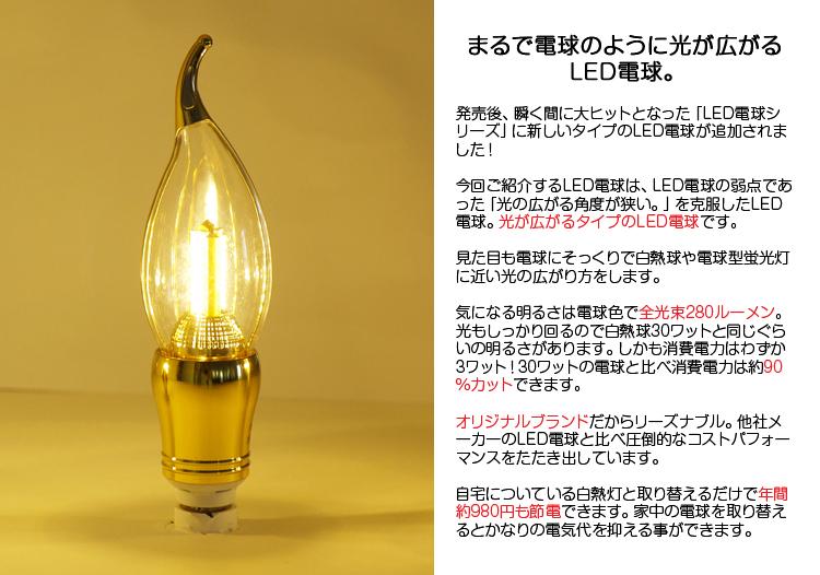 まるで電球のように光が広がるLED電球