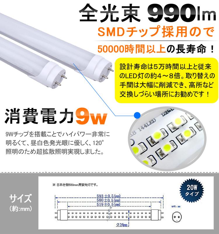 LED蛍光灯 60cm 省エネ消費電力9W 昼白色