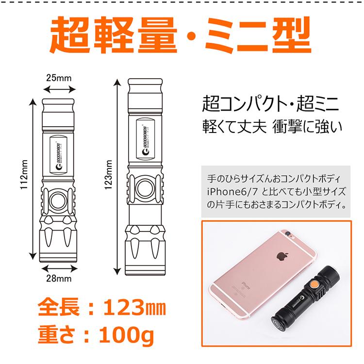 USB充電式 LED懐中電灯 小型 CREE XML-T6 強力 軍用 ハンディライト 軽量 ズーム機能付 防水 3モード