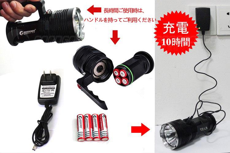 LED懐中電灯 XML-T6 防水 超強力 点灯 防災グッズ  超高輝度