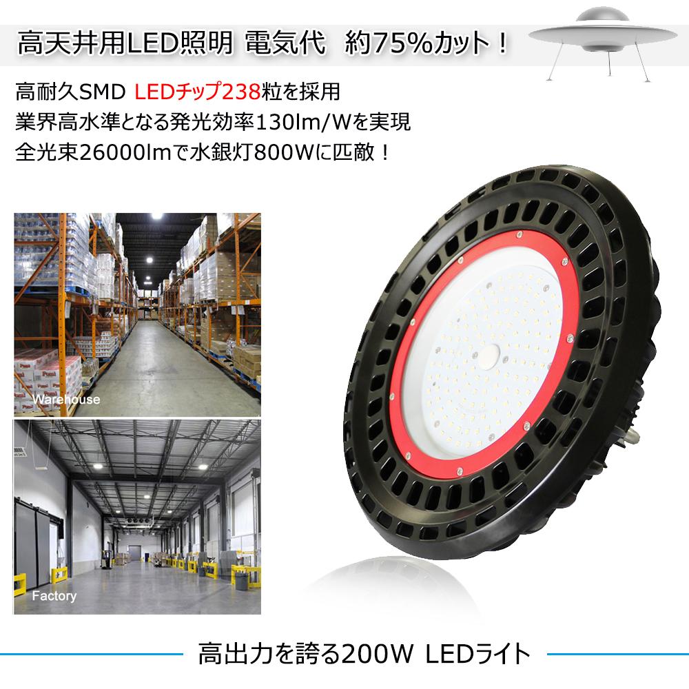 UFO型 LED 高天井用照明 ledランプ 200W 水銀灯800W相当 26000lm