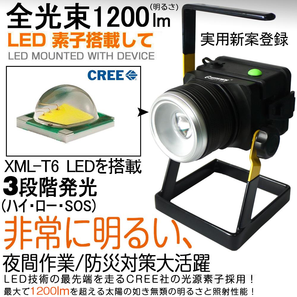 LED投光器 12W 120W相当 充電式 ポータブル投光器 作業灯 1200LM 昼白色 広角 防水
