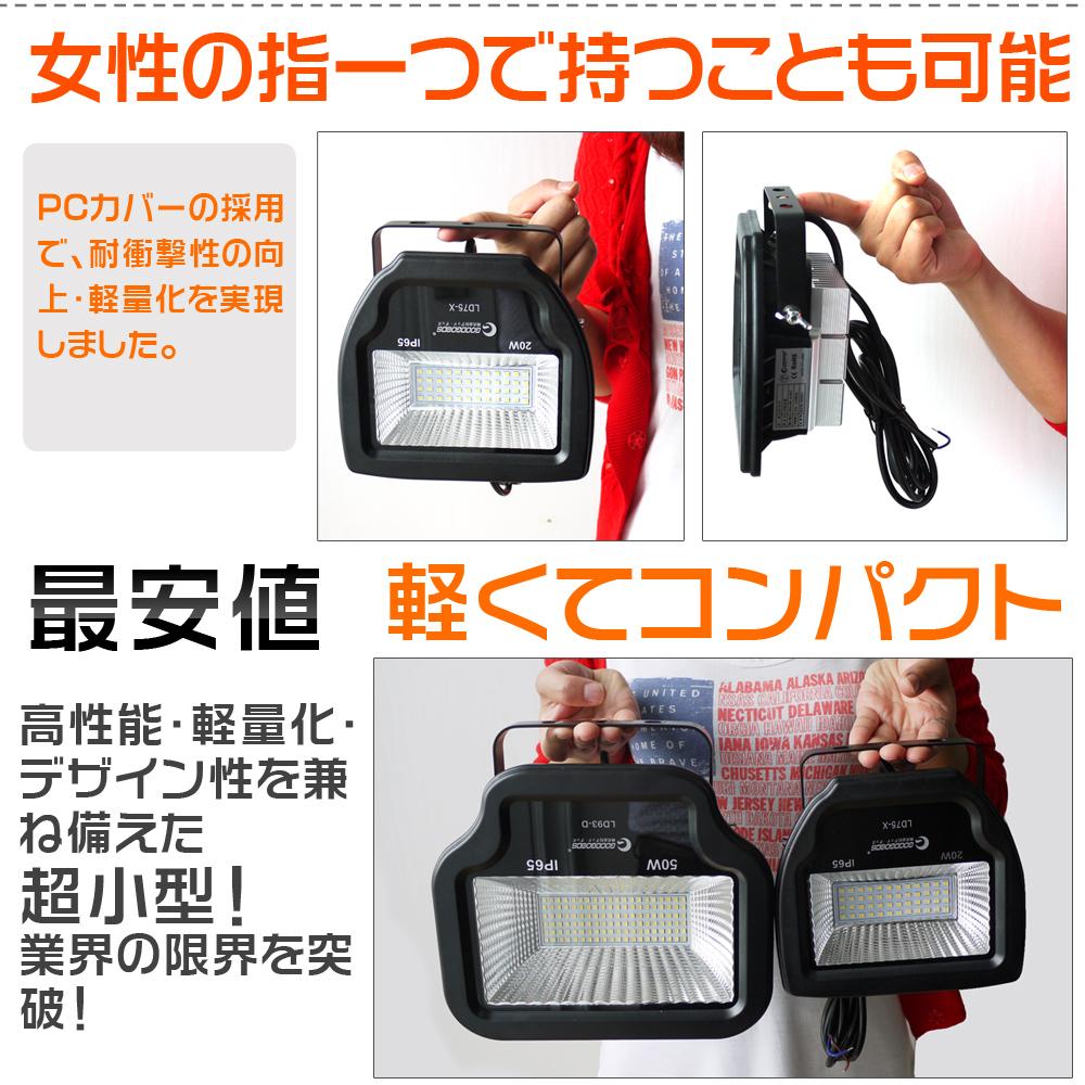 LED投光器20W 200W相当 2200LM ワークライト 作業灯