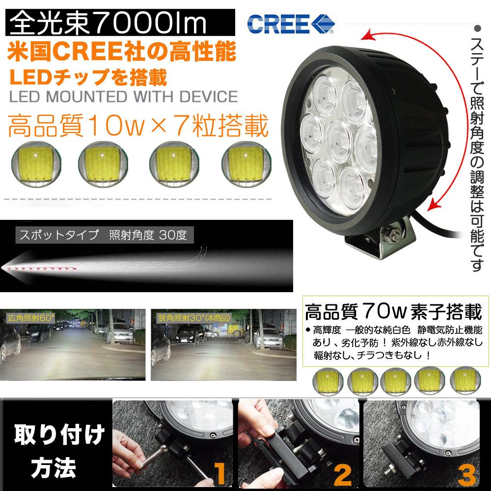LED作業灯 70W 700W相当 DC12/24V兼用
